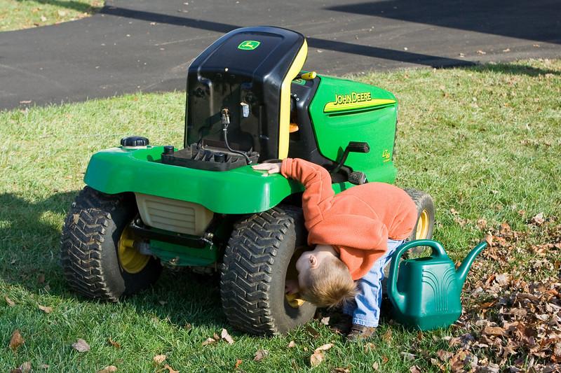 K.C. checks the tractor tire.