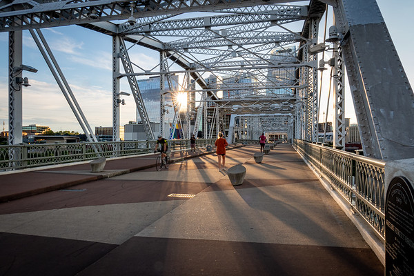 Activity on Nashville's John Seigenthaler Pedestrian Bridge