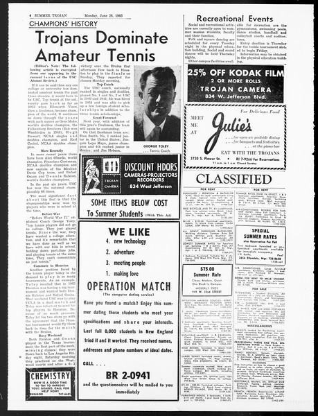 Summer Trojan, Vol. 15, No. 3, June 28, 1965