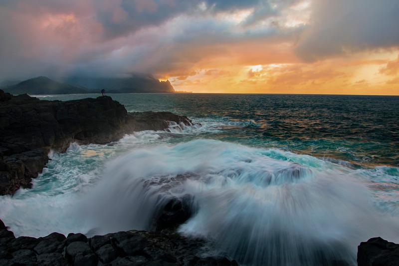 Epic sunset and ocean, Kauai, Hawaii