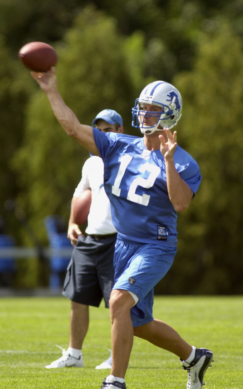 . Detroit Lions QB #12 Scott Dreisbach during workouts this afternoon.