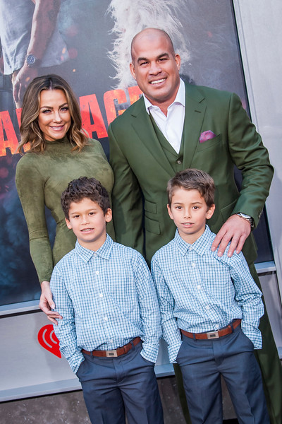 LOS ANGELES, CA - APRIL 04: Amber Nichole Miller, Jesse Jameson Ortiz, Journey Jette Ortiz and Tito Ortiz arrive at the Premiere Of Warner Bros. Pictures' 'Rampage' at Microsoft Theater on Wednesday April 4, 2018 in Los Angeles, California. (Photo by Tom Sorensen/Moovieboy Pictures)