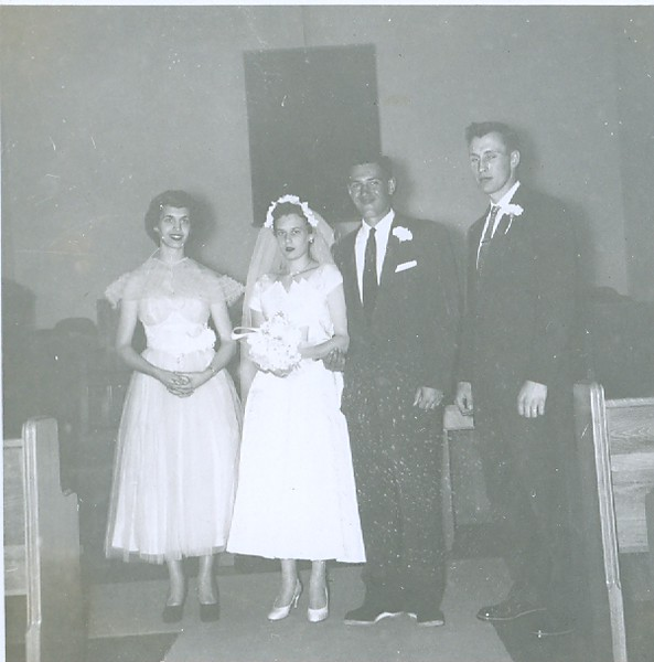Cleabelle Pearce (about to become Cleabelle Wilson, later Cleabelle Dobbins) and Robert Wilson on their wedding day with two witnesses/friends.