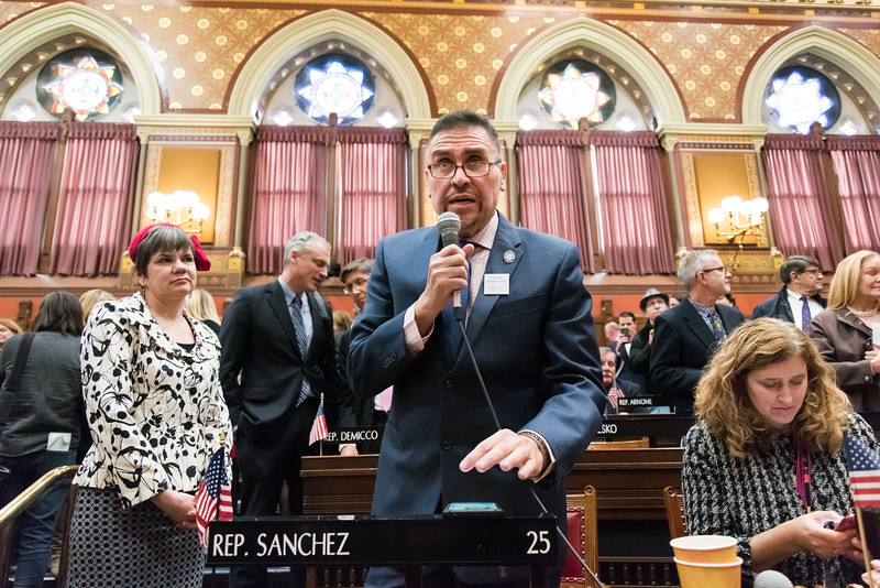 01/09/19  Wesley Bunnell | Staff  Rep. Bobby Sanchez speaks following Gov. Lamont's State of the State Address on Jan 9th.