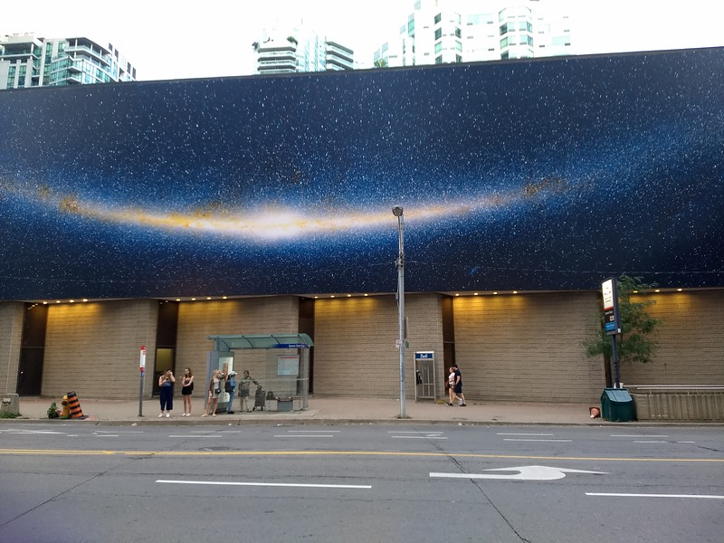 This mural is on the side of the convention center where I gave my presentation. I now have new hope for my Milky Way photos. Cell phone photo.