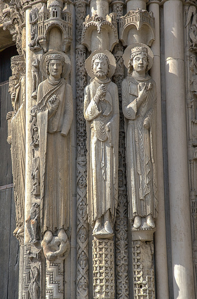 Chartres Cathedral West Facade Jamb Figures, Two Kings and a Queen of Judah