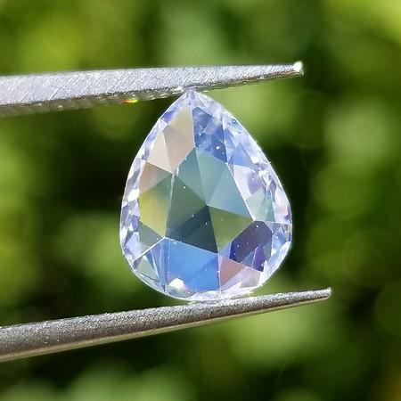1.66ct Rose Cut Pear Diamond - GIA D, SI1 w/VSB Fluor