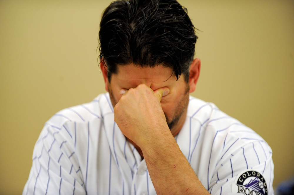 . Colorado Rockies Todd Helton is visiting hospitalized victims and families at University of Colorado Hospital in Aurora, CO. Thursday, July 26, 2012. 12 Colorado Rockies players and team manager Jim Tracy visited hospitalized victims and families. Hyoung Chang, The Denver Post