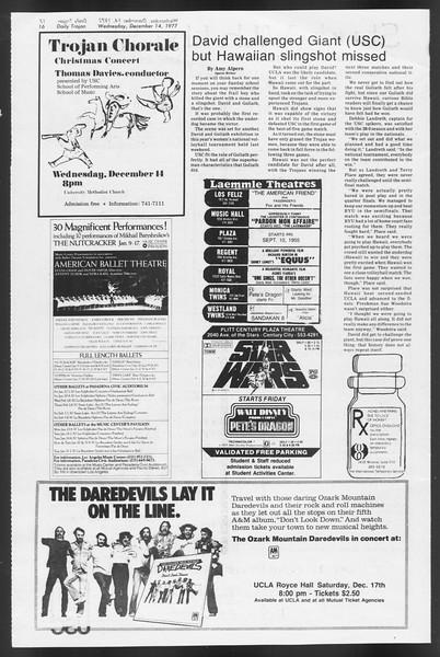 Daily Trojan, Vol. 72, No. 57, December 14, 1977