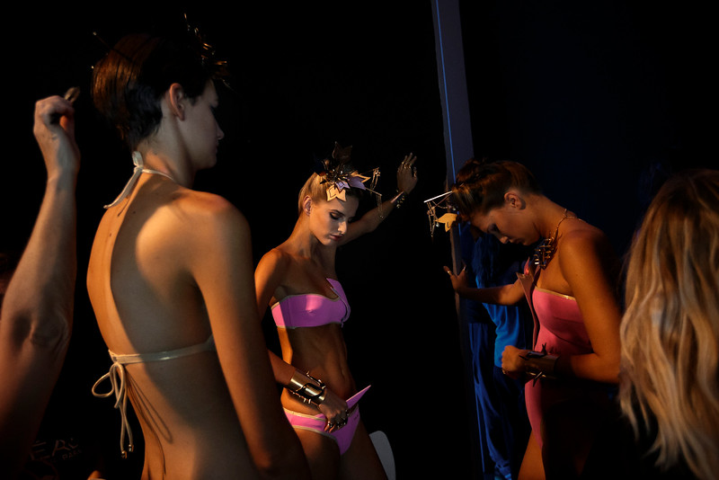 . Models wait backstage before displaying 2015 Spring/Summer designs by Dolores Cortes during the Madrid\'s Fashion Week in Madrid, Spain, Monday, Sept. 15, 2014. (AP Photo/Daniel Ochoa de Olza)