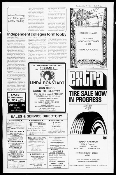 Daily Trojan, Vol. 66, No. 121, May 07, 1974