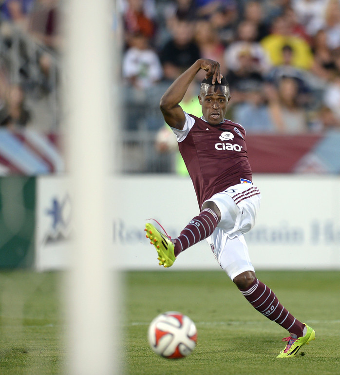 . COMMERCE CITY, CO - JUNE 28: Colorado forward Deshorn Brown put a shot on net in the second half. The Colorado Rapids defeated the Vancouver Whitecaps 2-0 at Dick\'s Sporting Goods Park Saturday night, June 28, 2014.  Photo by Karl Gehring/The Denver Post