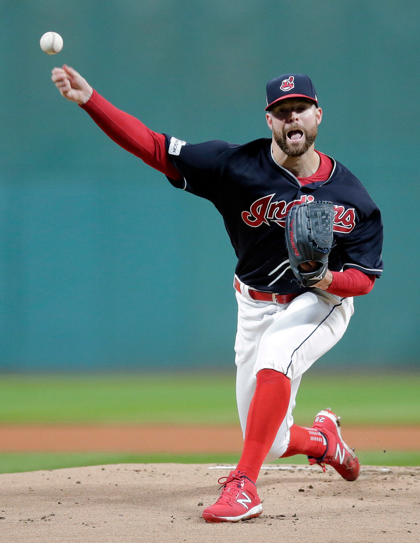 . Cleveland Indians starting pitcher Corey Kluber delivers in the first inning of Game 5 of the baseball team\'s American League Division Series against the New York Yankees, Wednesday, Oct. 11, 2017, in Cleveland. (AP Photo/Tony Dejak)