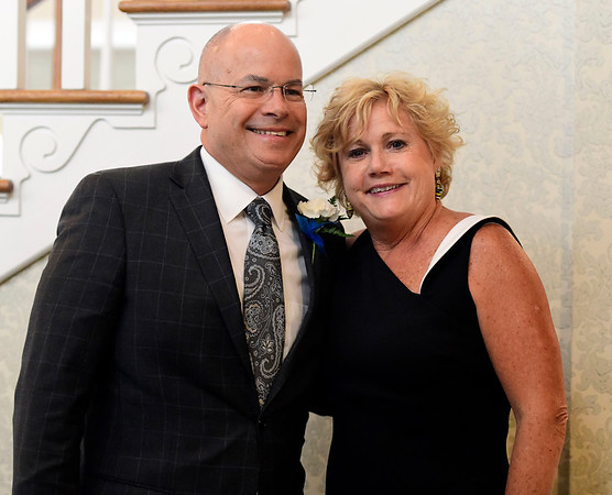 6/5/2019 Mike Orazzi | Staff Bristol Hospital's Kurt Barwis and Cindy Bombard during the 130th Annual Awards Dinner held at the Aqua Turf Club in Southington Wednesday evening.
