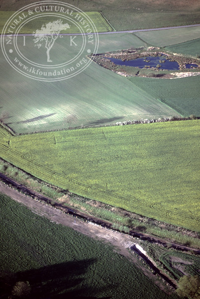 Farmland west of Ravlunda church - with plantations, buildings and prehistoric remains (4 May, 1989). | LH.0651