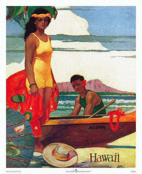 080: John Kelly: 'Hawaii.' Hawaii Tourist Bureau poster from circa 1950. John Kelly's vintage Hawaii islands' prints and posters have been made famous by other fine John Kelly Hawaiian images, like those with his favorite model Marion, as dancer of Hawaiian hula, as well as others that have made John Kelly posters highly collectible, like this classic Waikiki poster with Hawaii Tourist Bureau illustration of a Hawaiian wahine in front of an outrigger canoe with Diamond Head in the distance.
