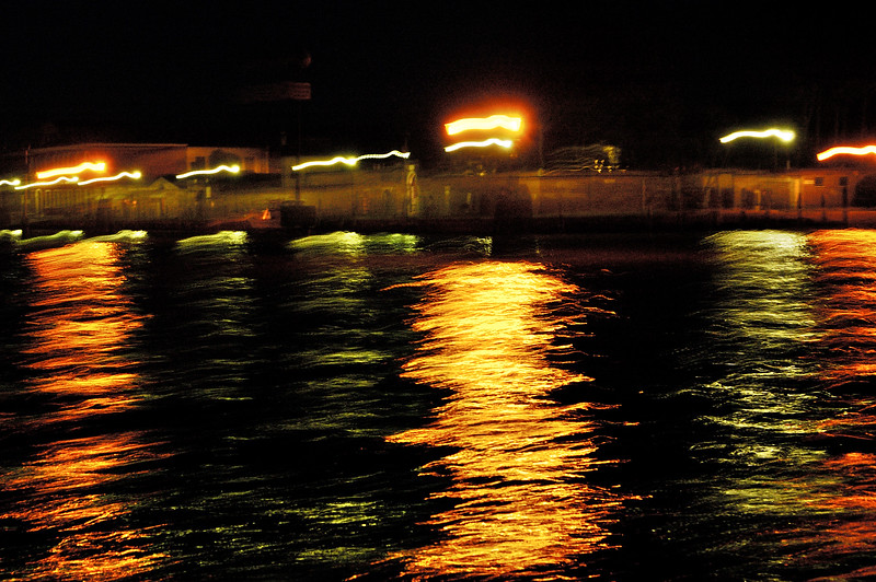 Arriving in Venice by boat in the night. Venice, Italy.