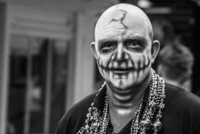 Key West Fantasy Fest Faces Black and White