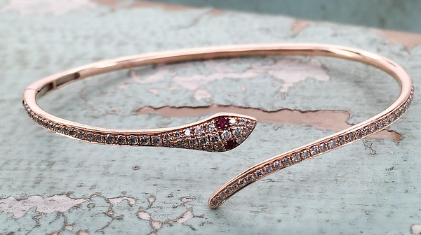 Rose Gold Diamond Snake Bangle