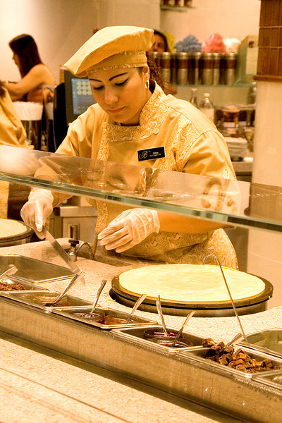 Making crepes in the Jean-Philippe Patisserie.