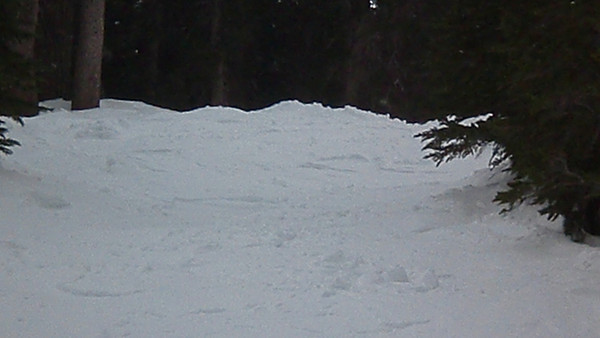 Aaron skiing down a little path between the trees off The Wall at Kirkwood. It was pretty steep and pretty narrow so jump turns were needed.  Video by Harrison Turner.
