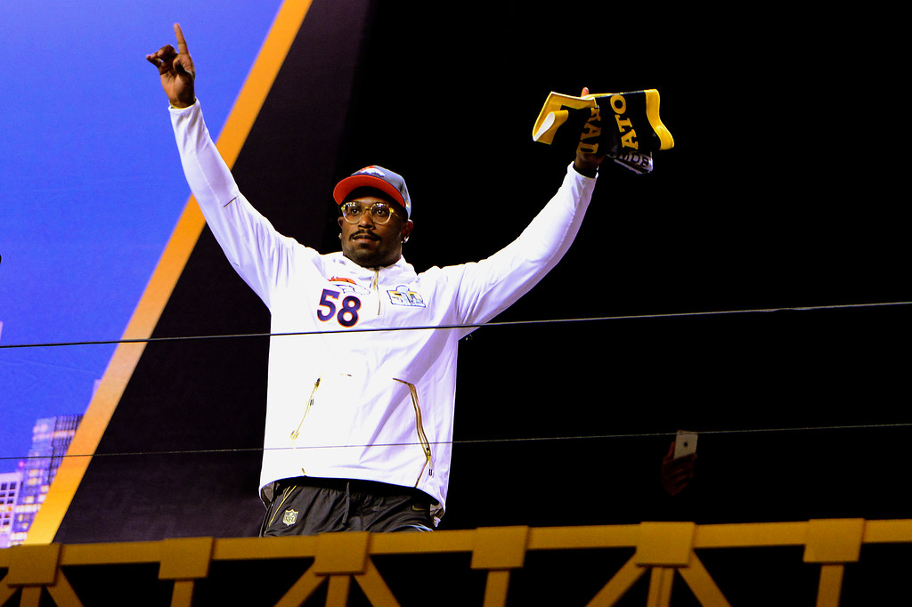 . SAN JOSE, CA - FEBRUARY 01: Denver Broncos linebacker Von Miller (58) comes onto the stage to start the Super Bowl 50 Opening Night with the Broncos at the SAP Center, San Jose, CA. February 01, 2016 (Photo by Joe Amon/The Denver Post)