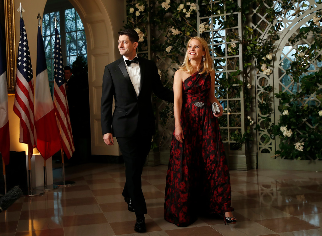 . House Speaker Paul Ryan of Wis., and his wife Janna Ryan arrive for a State Dinner with French President Emmanuel Macron and President Donald Trump at the White House, Tuesday, April 24, 2018, in Washington. (AP Photo/Alex Brandon)