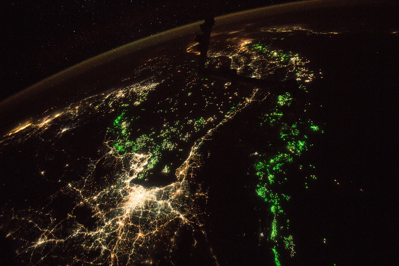 Fishing fleets (the green lights) and Bangkok