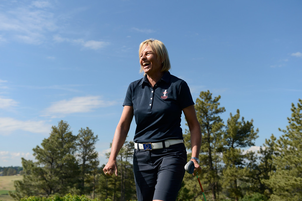 . Solheim Cup European captain, Liselotte Neumann, has a laugh during a chipping contest at the Colorado Golf Club on media day in Parker Colorado, June 02, 2013.  (Photo By Andy Cross/The Denver Post)