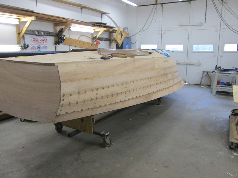 Rear port view of second two planks installed.