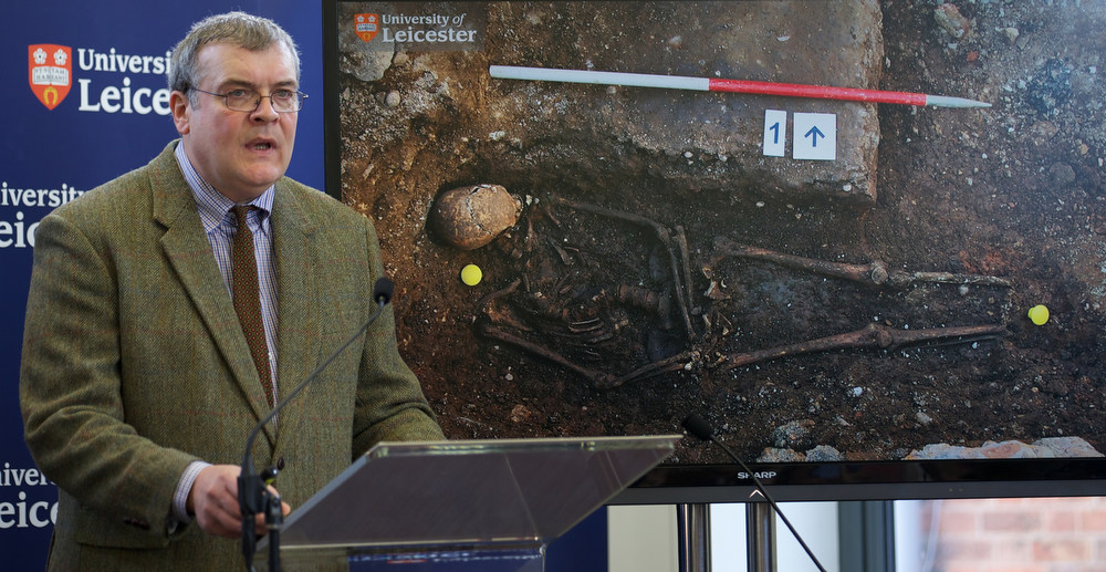 . Archaeologist Richard Buckley addresses a press conference at Leicester University in central england, on February 4, 2013, in front of a picture of King Richard III\'s open burial site. A skeleton found under a car park in the English city of Leicester is that of King Richard III, widely regarded as one of history\'s most notorious villains, scientists confirmed Monday. AFP PHOTO/ANDREW COWIE/AFP/Getty Images
