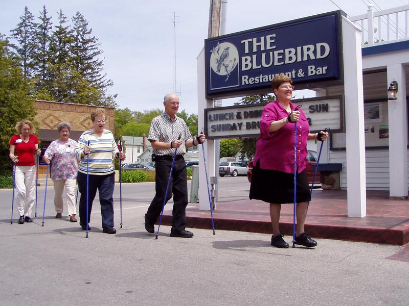 Nordic Walking at Leland's famous Bluebird durning a senior lunch program for 100 energetic seniors