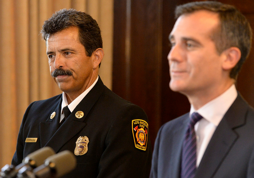 . Los Angeles Mayor Eric Garcetti appointed LAFD Assistant Chief Ralph Terrazas to be the next Chief of the Los Angeles Fire Department during a press conference at City Hall. Los Angeles, CA. 7/15/2014 (Photo by John McCoy / Los Angeles Daily News)
