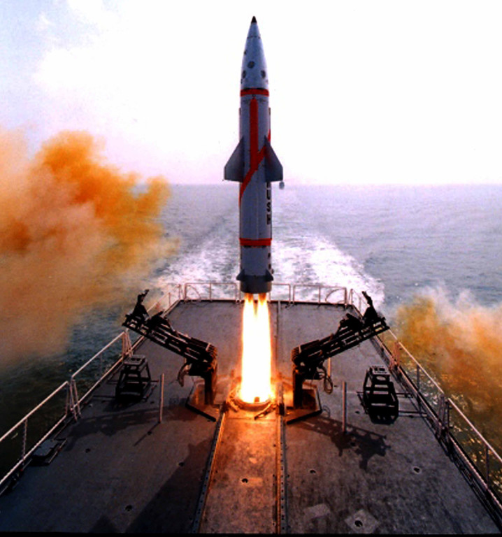 . In this photo provided by the Defence Research & Development Organization, Indian Missile Dhanush takes off from a Naval ship in the Bay of Bengal sea near Chandipur coast, about 200 kilometers from Bhubaneswar, India, Friday, Oct. 5, 2012. India successfully test-fired the indigenously developed nuclear-capable, short-range ballistic missile from a naval ship off its eastern coast, according to a news agency. The missile has a strike range of 350 kilometers and can carry a 500 kilogram conventional or nuclear warhead, the news agency cited a Defense Research & Development Organization official. (AP Photo/Biswaranjan Rout, Defence Research & Development Organization)