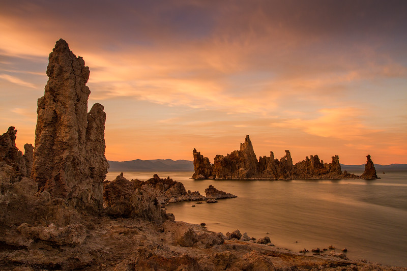 South tufa towers at sunset. Mono Lake State Natural Reserve