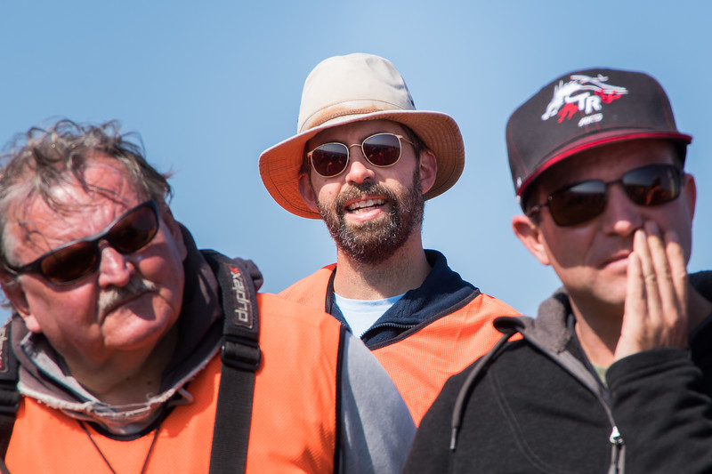 Day One: Erik Heijne (centre) with Dave Woods (left) and Stefan Bernardy at the pilots' briefing at the Crest