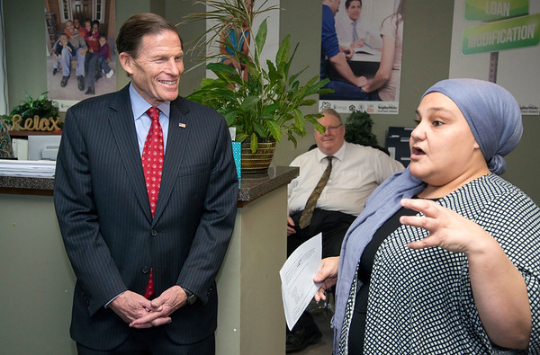 02/07/20 Wesley Bunnell | StaffrrSenator Richard Blumenthal visited Neighbor Works at 223 Arch St on Friday afternoon to announce federal grant money which has been allocated to the program. Senator Blumenthal smiles during a presentation by NHS of New Britain's Idalis Moreno.