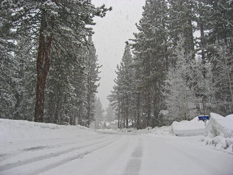 It was snowing in South Lake Tahoe when we got back. Yay for snow -- it meant we had an AMAZING next day on the slopes