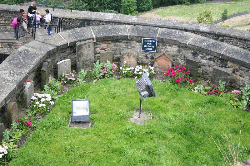"""""""Dog Cemetry"""" - The small garden below has been used since Queen VIctoria's reign (1837-1901) as a burial place for regimental mascots and officers' dogs."""