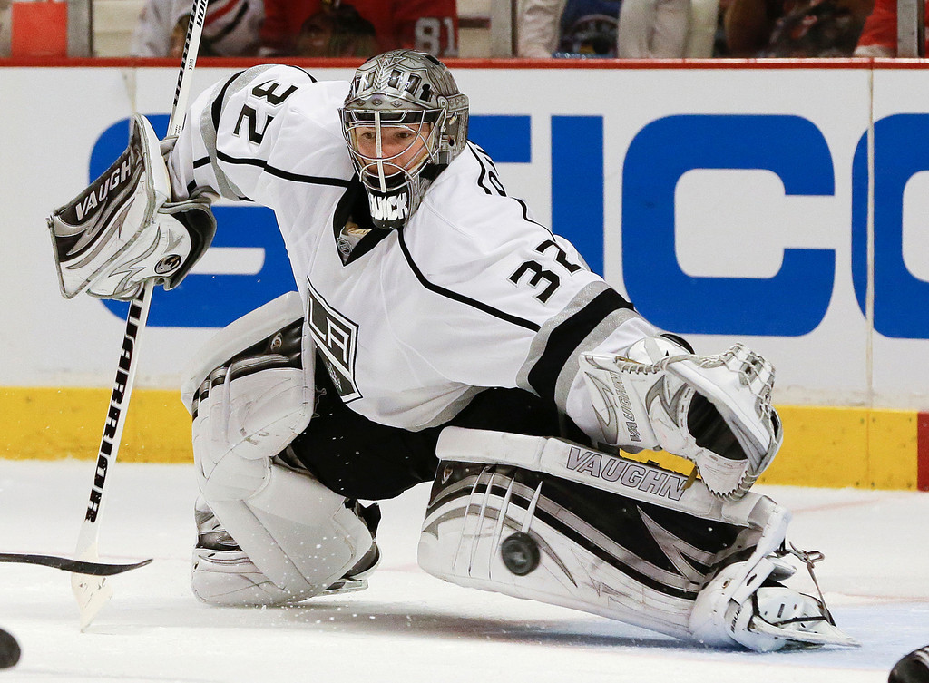 . The puck gets by Los Angeles Kings goalie Jonathan Quick for a goal by Chicago Blackhawks center Patrick Sharp during the second period of Game 1 of the NHL hockey Stanley Cup Western Conference finals, Saturday, June 1, 2013,in Chicago. (AP Photo/Nam Y. Huh)
