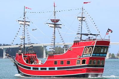Captain Memo's pirate ship sailing in Clearwater intercostal waterway.