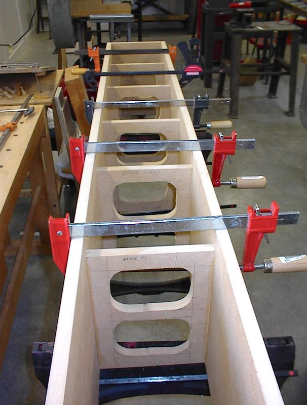 The other enclosure in clamps. Bracing between every other driver seems to work well in these tall enclosures