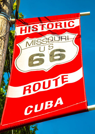 Murals of Regional Missouri History in Cuba, & banners -- U.S. Bicycle Route 66