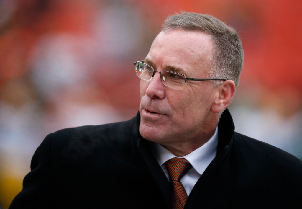 . Cleveland Browns general manager John Dorsey watches before an NFL football game between the Green Bay Packers and the Cleveland Browns, Sunday, Dec. 10, 2017, in Cleveland. (AP Photo/Ron Schwane)