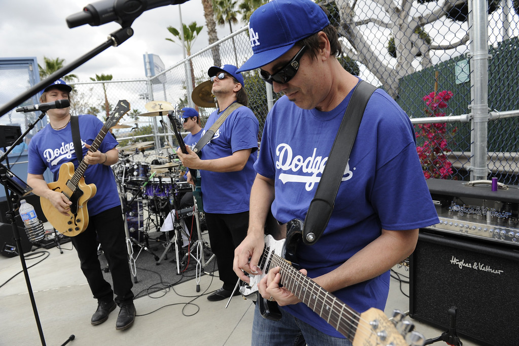 . The Trip performs for fans entering at the top of the park during the Los Angeles Dodgers played the San Francisco Giants in the opening game of the new season. Los Angeles, CA 4/01/2013. Michael Owen Baker/staff photographer
