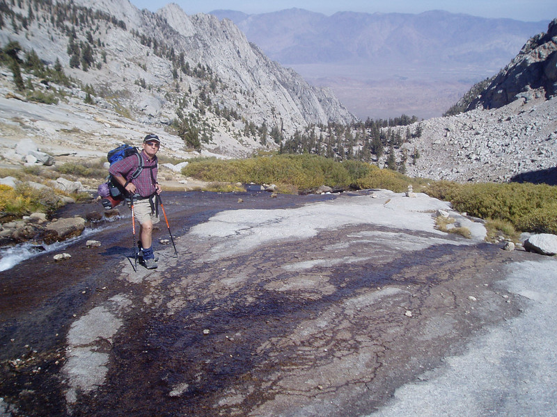 On the rocky slabs between Upper and Lower Boy Scout Lake. North Fork Lone Pine Creek drainage below