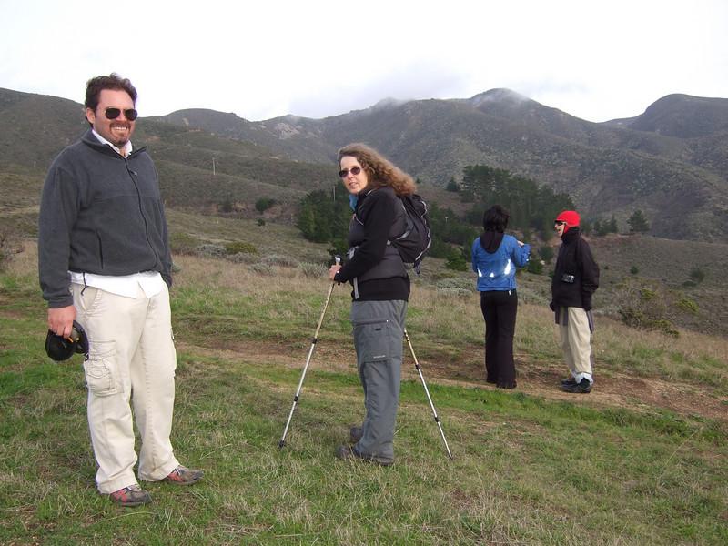 Joel McEwen, left; Eva Strauss-Rosen, McEwen's girlfriend and Jean Marie Offenbacher. Hike with Joel McEwen, girl friend, Jean Marie Offenbacher and my wife Eva Strauss-Rosen. Moss Beach Trails. Dec 27, 2010.