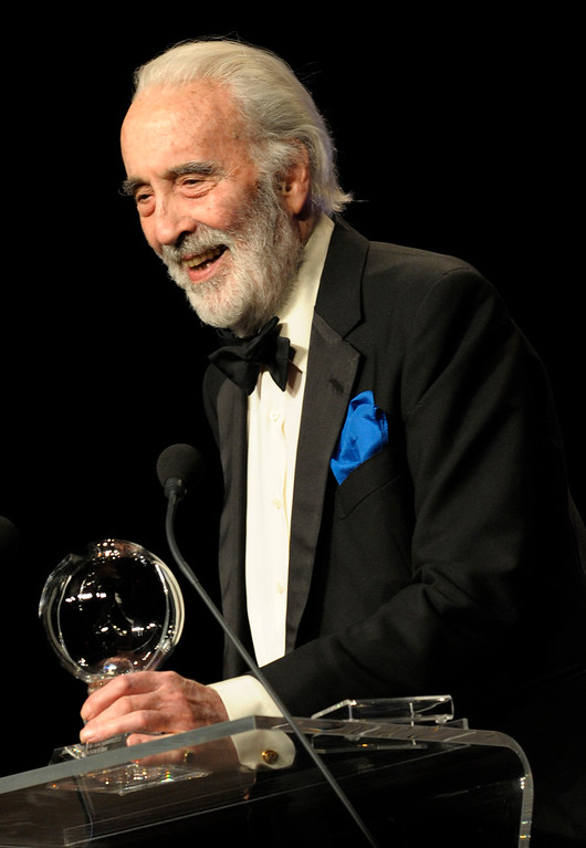 . British actor Sir Christopher Lee delivers a speech after he was offered the Steiger Award 2010 on March 13, 2010 in Bochum, western Germany. The prize is given yearly since 2005 in different categories to personalities of the public life for their outstanding contribution to tolerance, charity, music, film, media, sports, environment and the growing together of the European Union.   (JENS SCHLUETER/AFP/Getty Images)