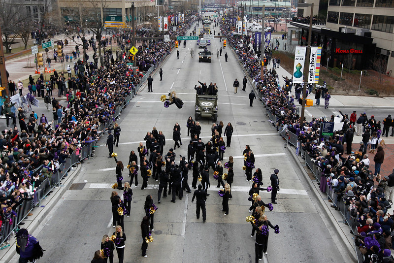 . The Baltimore Ravens Super Bowl victory parade makes its way through the streets of Baltimore on February 5, 2013.  The Ravens defeated the San Francisco 49\'s in the Super Bowl to win the NFL Championship in New Orleans on February 3.  MOLLY RILEY/AFP/Getty Images