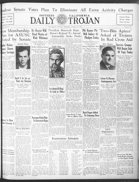 Daily Trojan, Vol. 28, No. 75, January 27, 1937